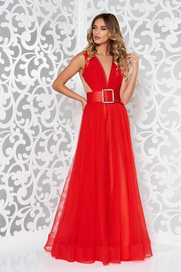 Red evening dresses Ana Radu dress accessorized with belt