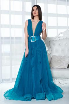 Ana Radu turquoise dress evening dresses accessorized with belt