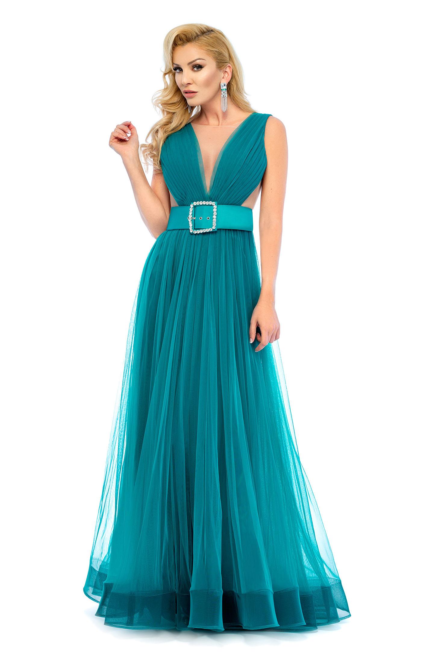 Turquoise evening dresses Ana Radu dress accessorized with belt