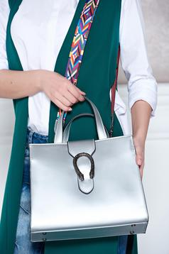 Silver bag from natural leather