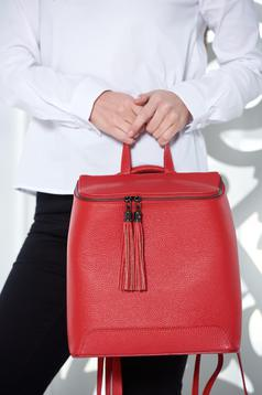 Red casual bag from natural leather