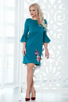 StarShinerS turquoise embroidered dress bell sleeves flared
