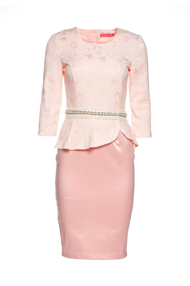 StarShinerS rosa dress elegant pencil frilled accessorized with tied waistband