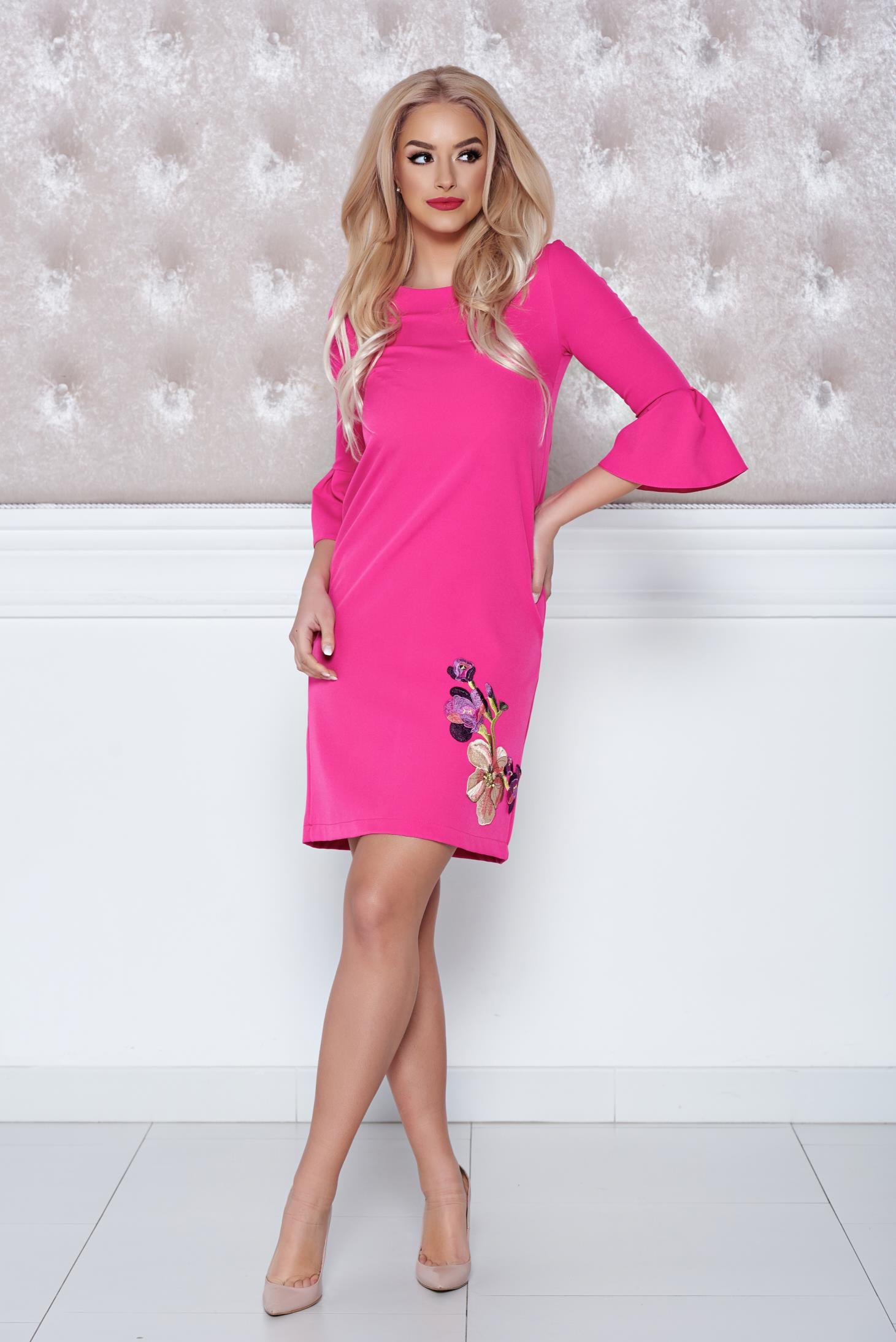 StarShinerS fuchsia dress embroidery details easy cut