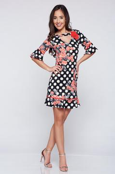 LaDonna easy cut black dress with floral details and dots print