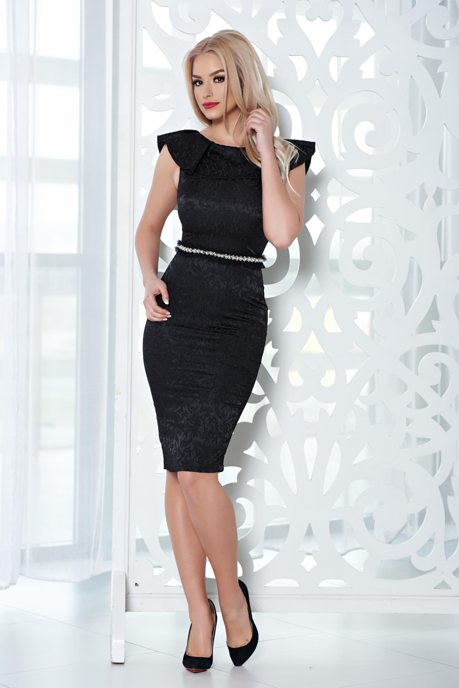 StarShinerS black dress occasional pearl embellished details