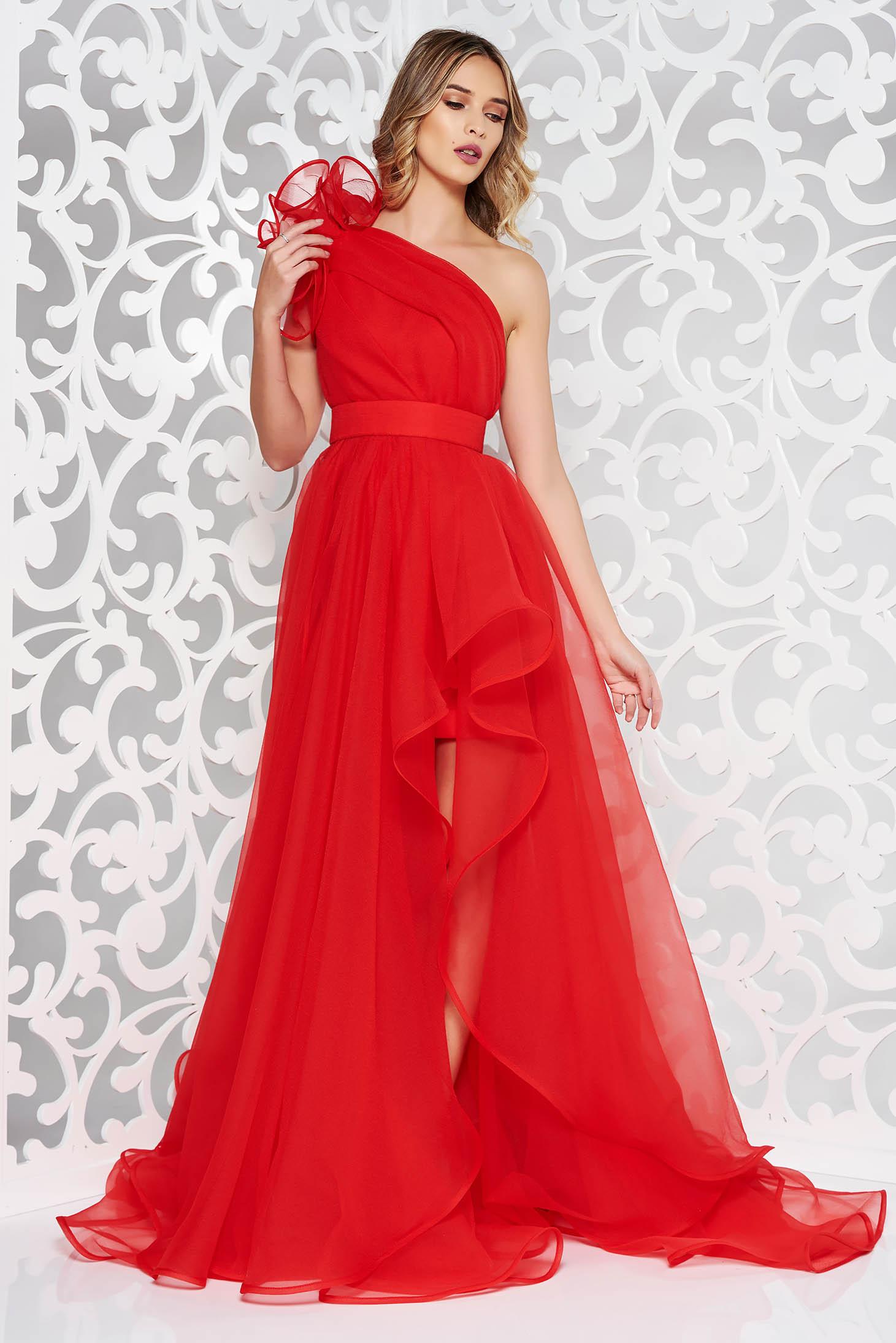One shoulder Ana Radu red evening net dress