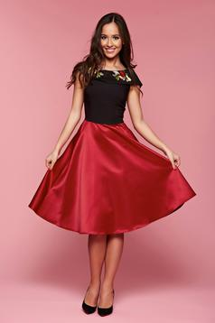 Occasional Artista burgundy dress with satin fabric texture and embroidery details