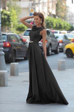 Artista sleeveless black evening dress with satin fabric texture