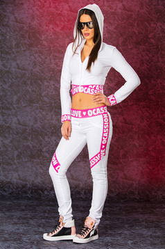 Ocassion white set writing print sporty
