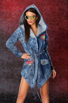 Ocassion blue jacket casual asymmetrical cut