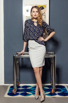 High waisted PrettyGirl grey skirt with back zipper fastening
