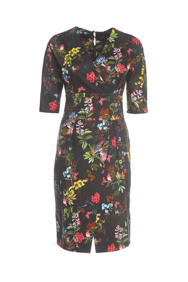 Wrap around PrettyGirl black daily dress with floral print
