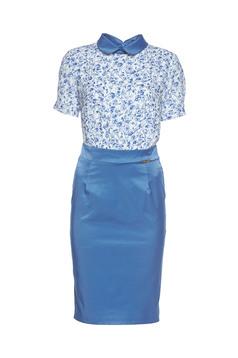 PrettyGirl daily blue dress with round collar
