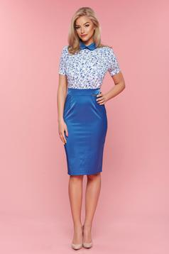 PrettyGirl daily blue dress with round collar