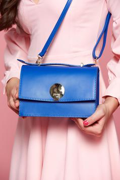 Natural leather blue bag with long, adjustable handle