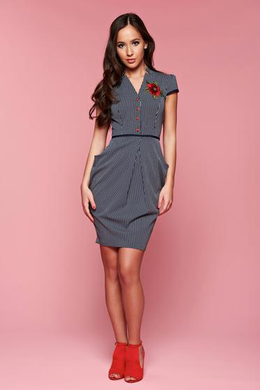 Fofy daily darkblue dress with pockets and embroidery details