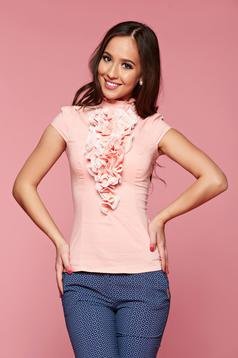 Fofy peach women`s shirt with ruffles on the chest