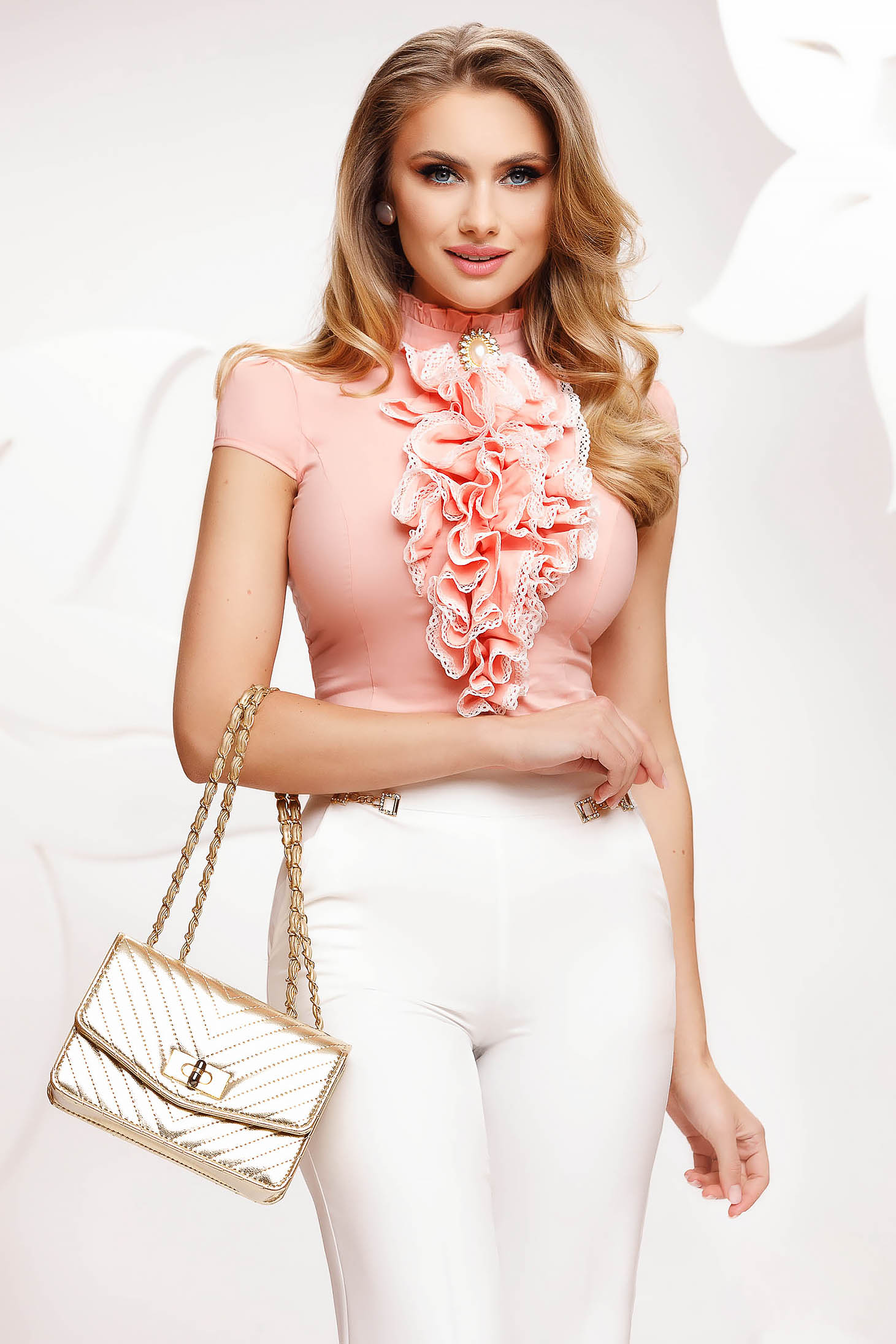 Peach women`s shirt with ruffles on the chest short sleeve