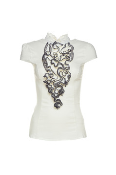 Fofy darkblue women`s shirt with ruffles on the chest