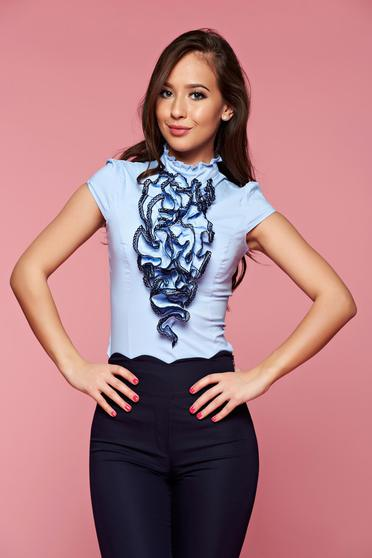 Fofy lightblue women`s shirt with ruffles on the chest
