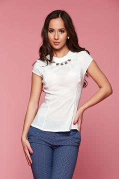 Fofy nude cotton women`s shirt with embellished accessories