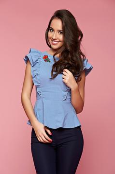 Fofy blue women`s shirt with ruffled sleeves and embroidery details