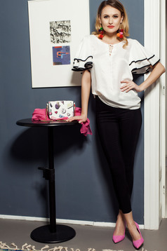 Office PrettyGirl conical black trousers