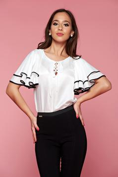 PrettyGirl white women`s blouse with butterfly sleeves