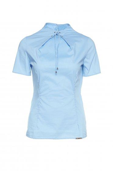PrettyGirl office lightblue women`s blouse with short sleeve