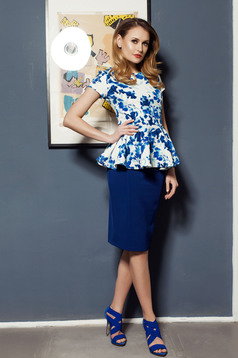 PrettyGirl blue frilled waist women`s blouse with floral prints