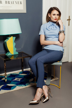 PrettyGirl darkblue trousers with medium waist and graphic details