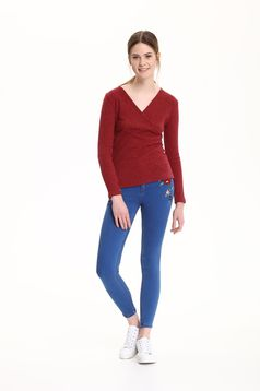 Top Secret blue skinny jeans with embroidery details