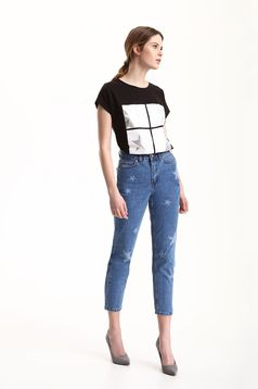 Top Secret blue casual jeans with graphic details