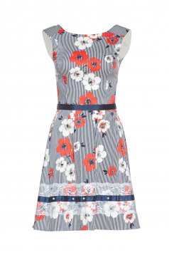 LaDonna red sleeveless dress with floral prints