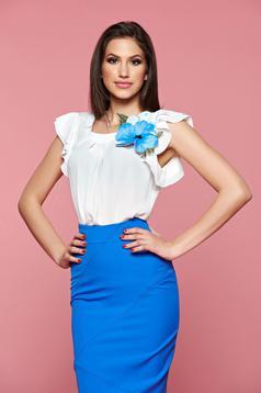 LaDonna blue short sleeve women`s blouse with floral details