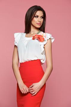 LaDonna red short sleeve women`s blouse floral details