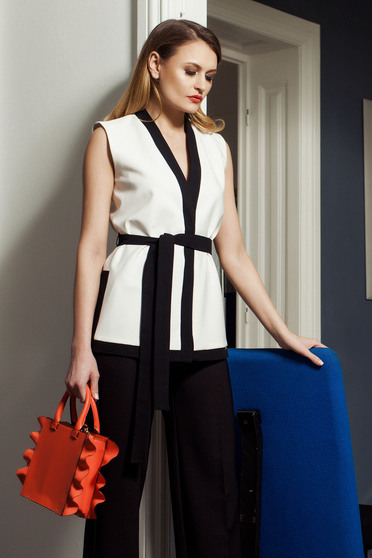 PrettyGirl inside lining white gilet with an accessory