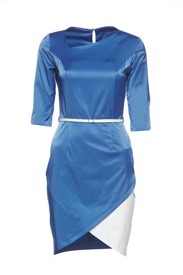 PrettyGirl blue asymmetrical dress accessorized with belt