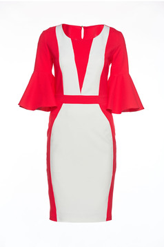 PrettyGirl coral midi inside lining dress with bell sleeves