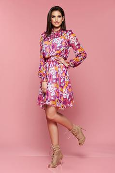 PrettyGirl purple elastic waist dress with floral prints