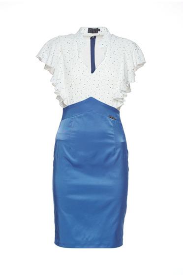 PrettyGirl elegant blue dress with v-neckline