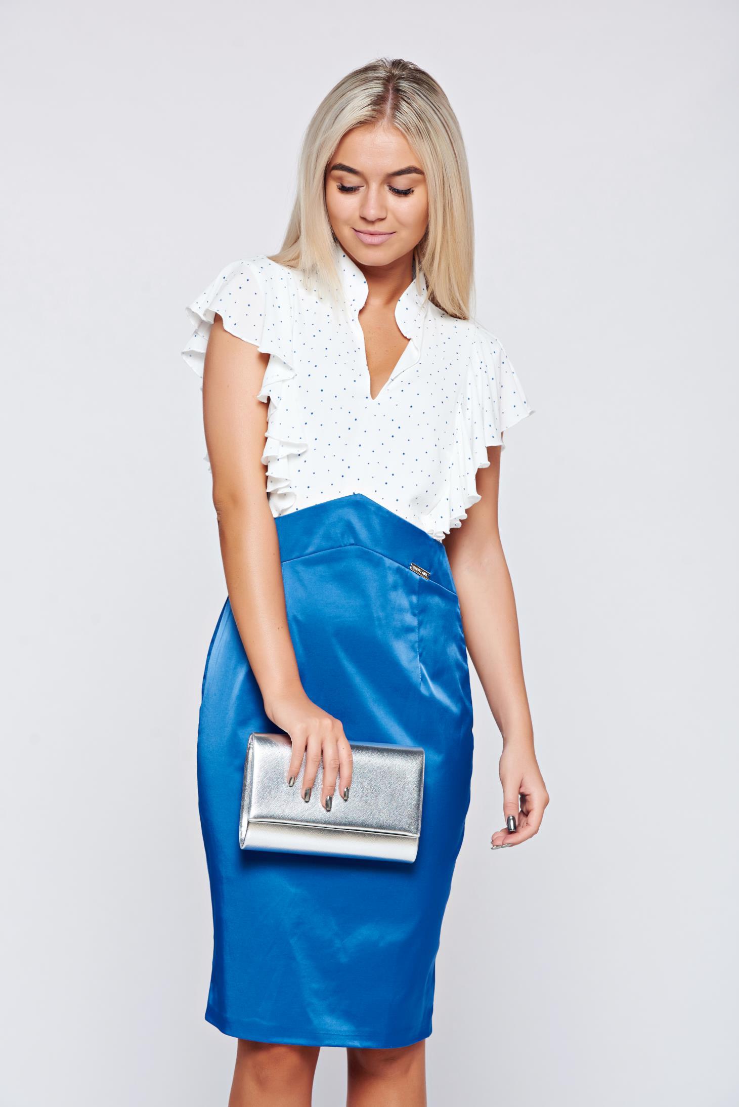Rochie PrettyGirl albastra eleganta cu decolteu in v