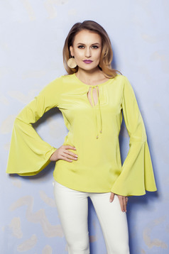 PrettyGirl lightgreen bell sleeve women`s blouse with laced details