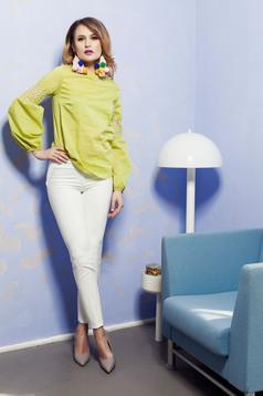 PrettyGirl lightgreen long sleeve women`s blouse lace details