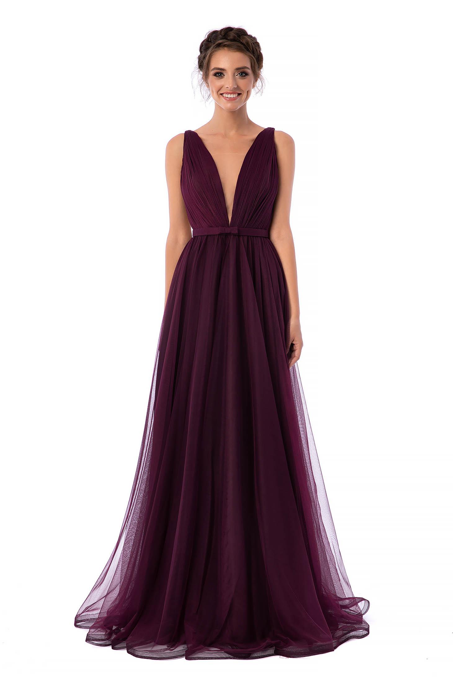 Ana Radu occasional net purple dress with v-neckline bow accessory