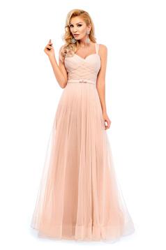 Ana Radu peach evening dresses dress with braces embellished accessories