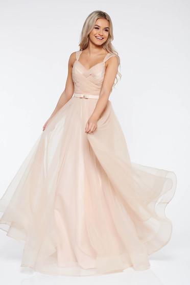 Ana Radu peach evening dresses dress with braces accessorized with tied waistband