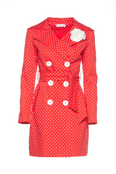 LaDonna red trenchcoat dots print flower shaped brestpin