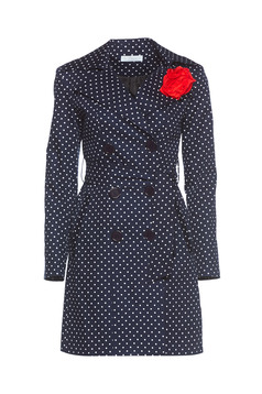 LaDonna darkblue trenchcoat with dots print and flower shaped brestpin